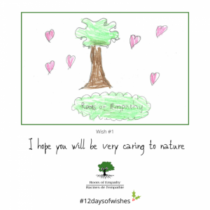 """Child's drawing of a tree with the caption """"I hope you will be very caring to nature"""""""