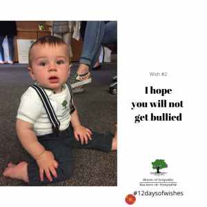 """Photo of a young child. Caption reads """"I hope you will not get bullied"""""""