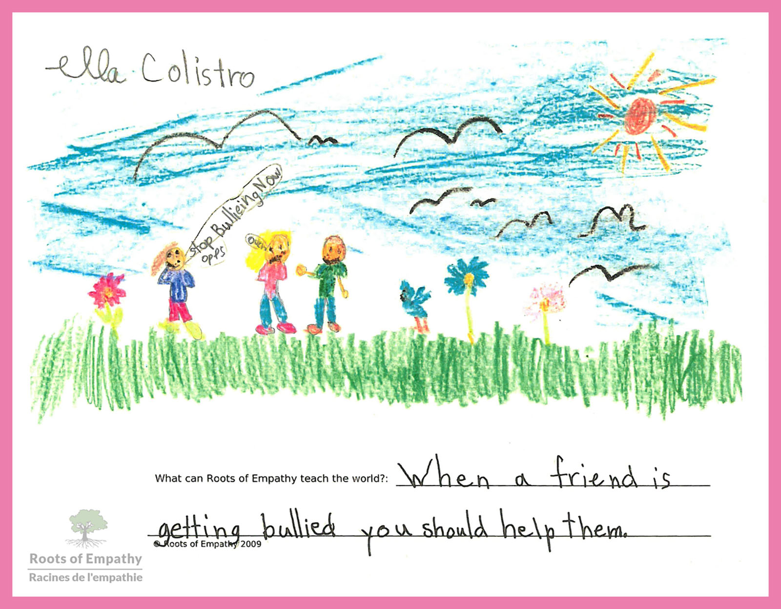 A drawing by Ella C. Grade 2.