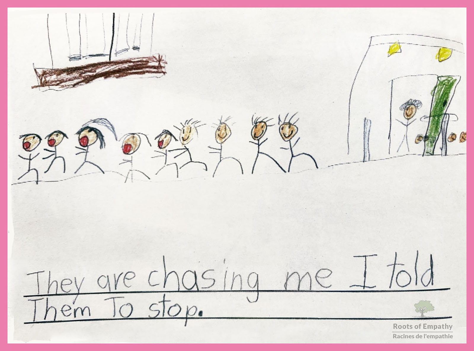 A little girl has drawn a picture of herself being chased after by 8 children in the school yard beside her school