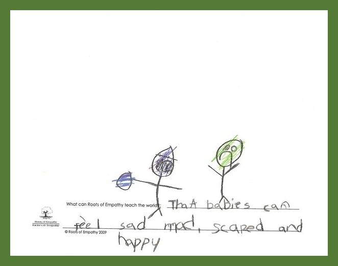 """Drawing prompt: What can Roots of Empathy teach the world. The student wrote, """"That babies can feel sad, mad, scared and happy."""" They drew two stick figures. One is coloured purple with an angry look on his face. The other is coloured green with a frown on his face."""