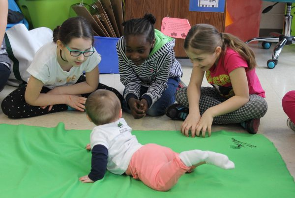 Three girls play with a baby on the green blanket.