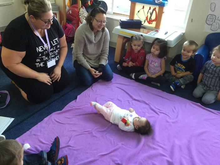 Preschool children meet Seeds of Empathy Baby Harleen for the first time Six Nations Child Care Services, Ohsweken