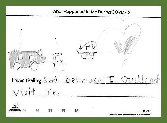 """Surrey School District – SD36 Cloverdale Traditional School Instructor: Gerri Galloway Program student from Surrey School District wrote """"I was feeling sad because I could not visit Jr."""" They drew a two cards and a broken heart."""