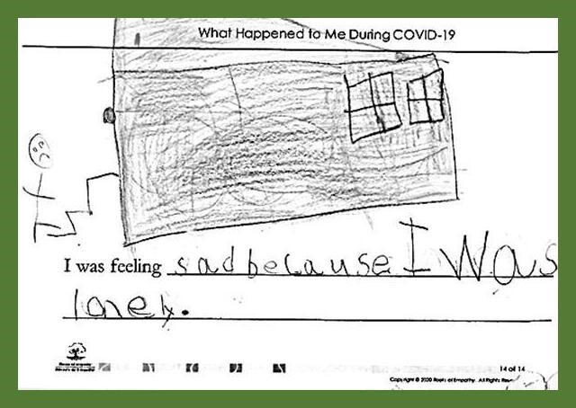 """Surrey School District – SD36 Cloverdale Traditional School Instructor: Gerri Galloway A program student from Surrey School District wrote, """"""""I was feeling sad because I was lonely."""" They drew themselves walking up the steps to a building."""