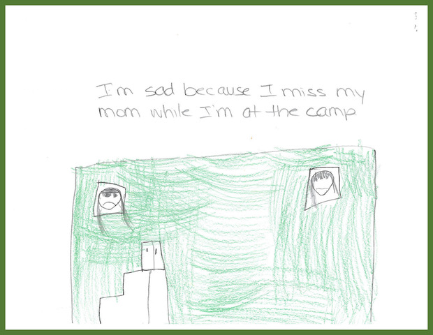 """A student from Kikendawt Kinoomaadii Gamig (Dokis School) wrote, """"I'm sad because I miss my mom while i'm at the camp."""" She drew her mom on one side of the image looking out a window and herself on the other side looking out a window."""